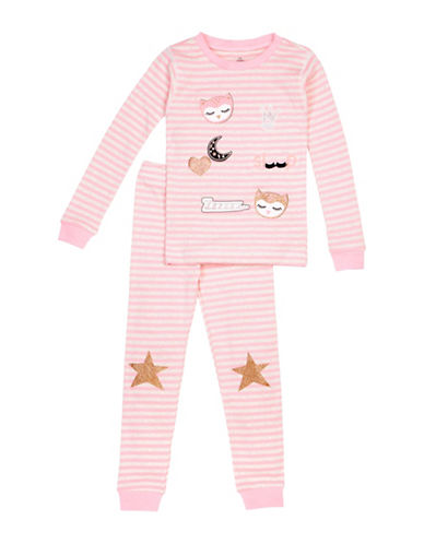 Petit Lem Two-Piece Cotton Owl Pajama Set-PINK-4