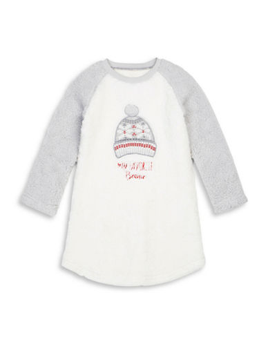 Petit Lem My Favourite Toque Sherpa Nightgown-WHITE-6
