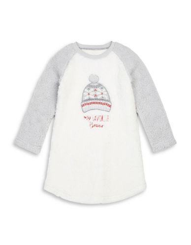 Petit Lem My Favourite Toque Sherpa Nightgown-WHITE-4