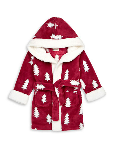 Petit Lem Christmas Tree Hooded Robe-RED-3