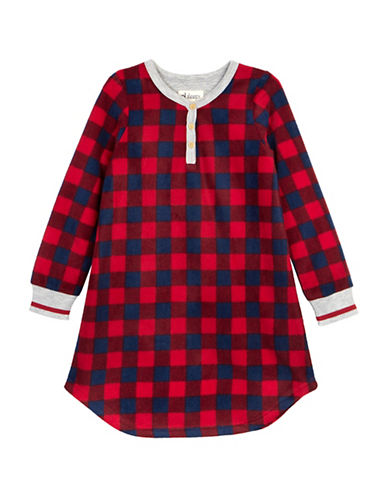 Petit Lem Team Santa Buffalo Check Nightgown-RED-6