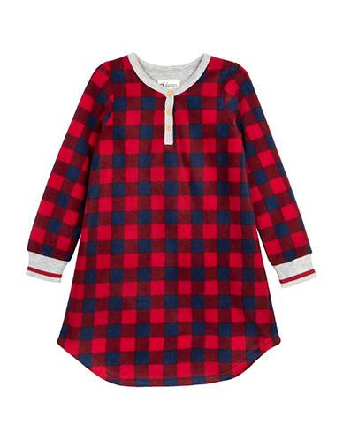 Petit Lem Team Santa Buffalo Check Nightgown-RED-8