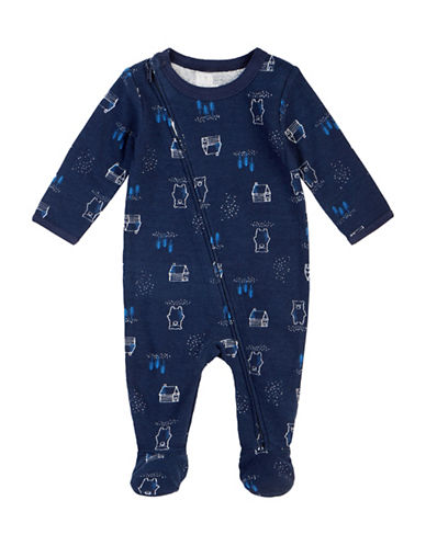 Petit Lem Zip Cotton Thermal Footed Sleeper-BLUE-6 Months