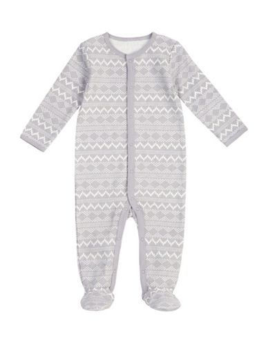 Petit Lem Fair Isle Cotton Thermal Footed Sleeper-GREY-9 Months