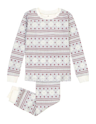 Petit Lem Two-Piece Cabin Holidays AOP Snowflake Pajama Set-GREY-14