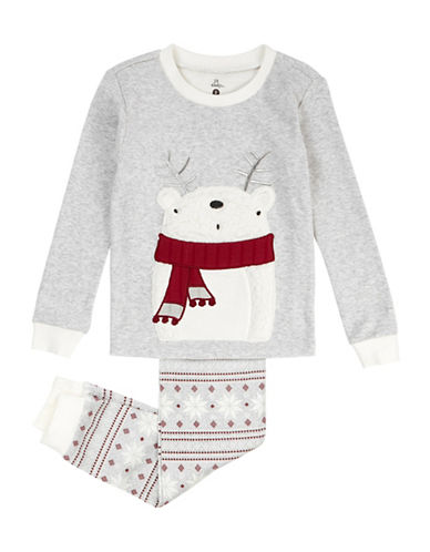 Petit Lem Two-Piece Cabin Holiday Cotton Pyjama Set-GREY-12 Months