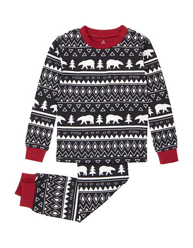 Petit Lem Two-Piece Cabin Holiday Aztec Pyjama Set-BLACK-4