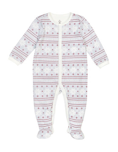 Petit Lem Snowflake Print Cotton Sleeper-GREY-3 Months