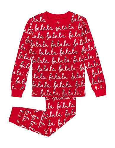 Petit Lem Two-Piece Santa Fa La La Pyjama Set-RED-14