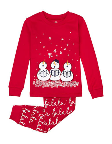 Petit Lem Two-Piece Snowmen Cotton Pyjama Set-RED-18 Months