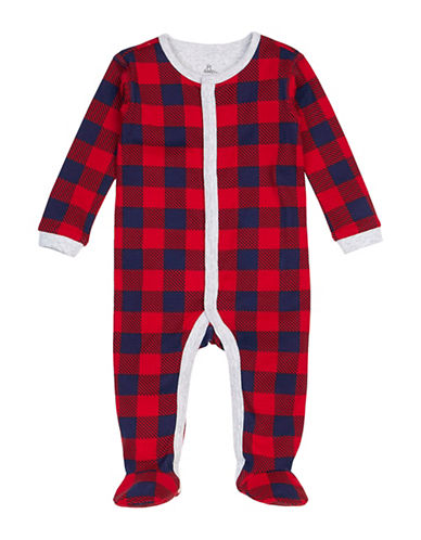 Petit Lem Buffalo Check Cotton Sleeper-RED-6 Months