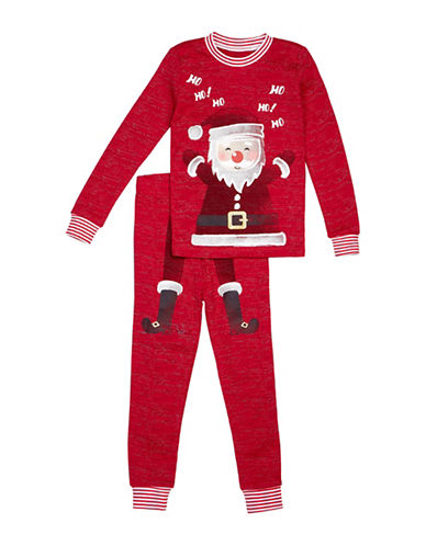 Petit Lem Two-Piece Santa Cotton Pyjama Set-RED-12 Months
