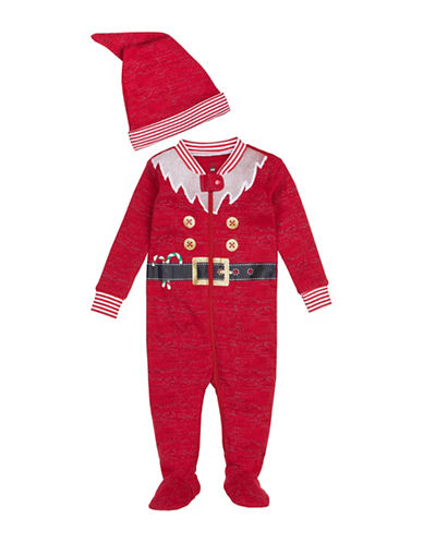 Petit Lem Two-Piece Santa Cotton Sleeper & Hat Set-RED-Newborn