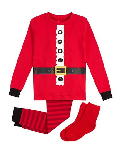 Petit Lem Three-Piece Santa Pyjama and Socks Set-RED-4