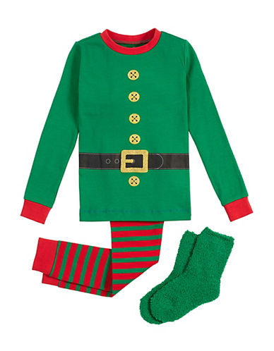 Petit Lem Three-Piece Christmas Elf Pyjama and Socks Set-GREEN-2