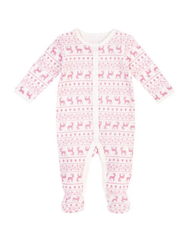 Petit Lem Fair Isle Deer Cotton Footed Thermal Sleeper-WHITE-3 Months