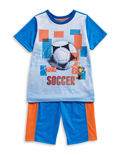 Petit Lem Two-Piece Soccer Pajama Shorts Set-ROYAL BLUE-12