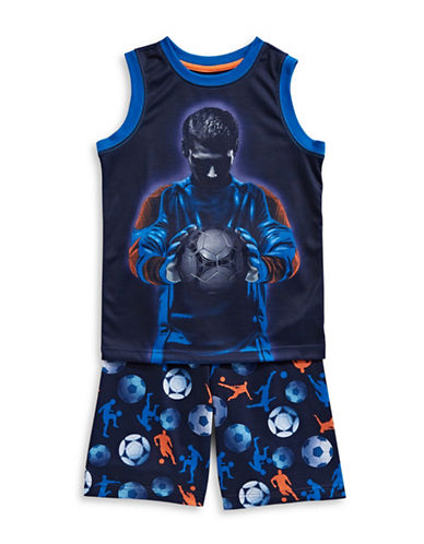 Petit Lem Two-Piece Soccer Pajama Tank Set-NAVY-8