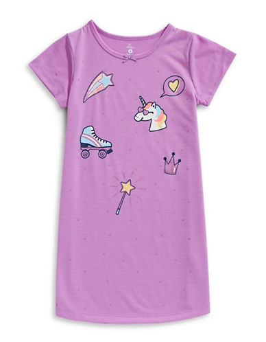Petit Lem Unicorn Swag Nightgown-LIGHT PURPLE-4