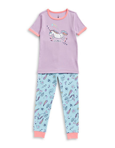 Petit Lem Two-Piece Unicorn Swag Pajama Set-PURPLE-3