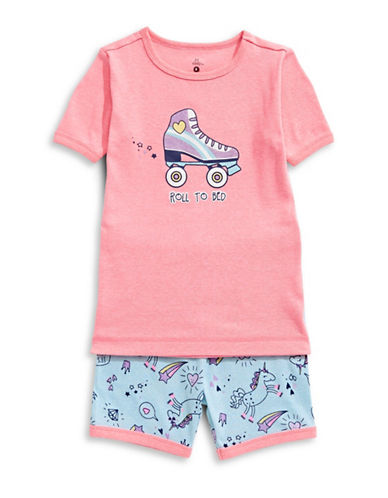 Petit Lem Two-Piece Unicorn Swag Pajama Shorts Set-RED-5