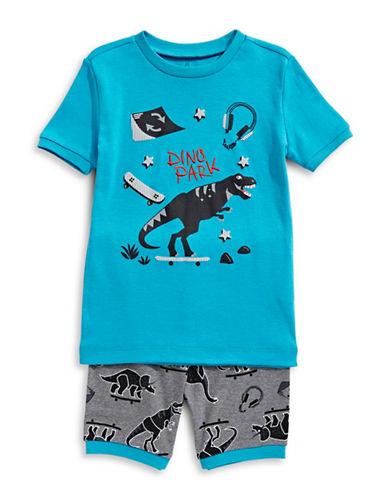 Petit Lem Two-Piece Dino Skate Park Pajama Short Set-TURQUOISE-5