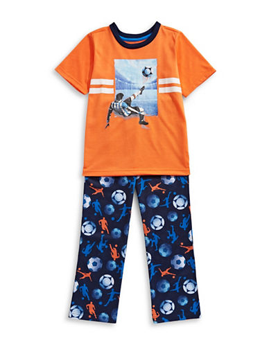 Petit Lem Two-Piece Soccer Pajama Set-ORANGE-12