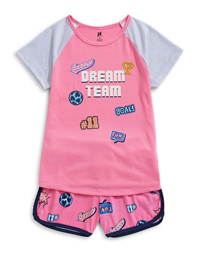 Petit Lem Two-Piece Dream Team Pajama Shorts Set-ASSORTED-14