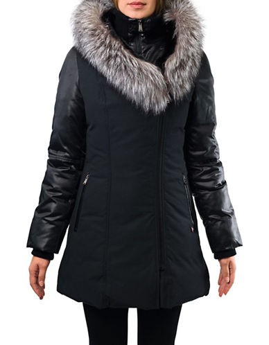 Sicily Clothing Stephanie Parka with Fur Trim-BLACK-Large