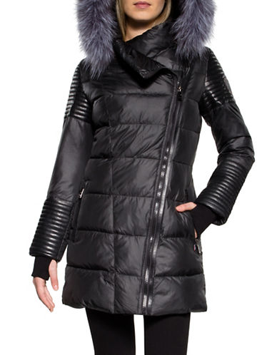 Sicily Clothing Silver Fox Fur Trim Puffer Coat-BLACK-X-Large