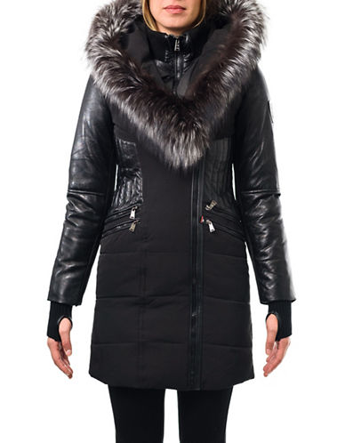 Sicily Clothing Beyonce Fox Fur Trimmed Hooded Coat-BLACK-Large
