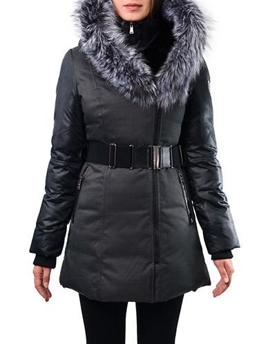 Sicily Clothing Simona Fox Fur Stadium Collar Convertible Hooded Coat-GREY-Small