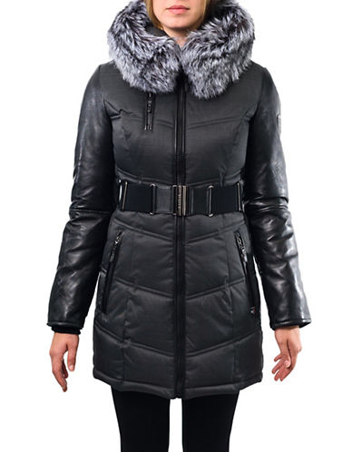 Sicily Clothing Victoria Fox Fur Hooded Coat-GREY-Small
