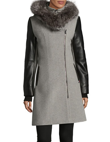 Sicily Clothing Ava Fox Fur Trimmed Coat-GREY-Small