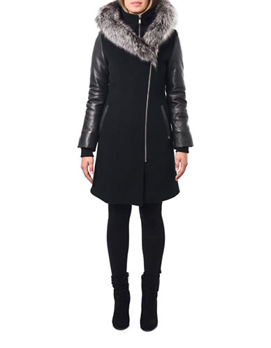 Sicily Clothing Ava Fox Fur Trimmed Coat-BLACK-X-Small