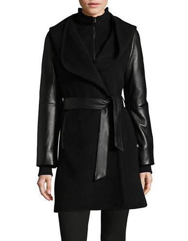 Sicily Clothing Wool-Cashmere Wrap Coat-BLACK-Medium