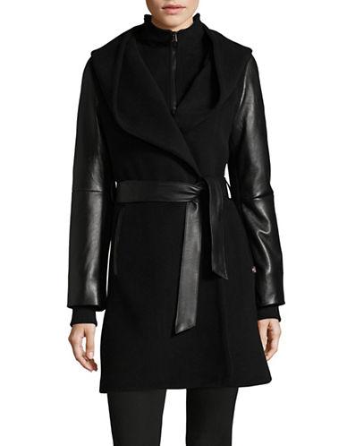Sicily Clothing Wool-Cashmere Wrap Coat-BLACK-X-Large