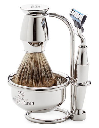 Kings Crown Four-Piece Nickel Shaving Set-NO COLOUR-0