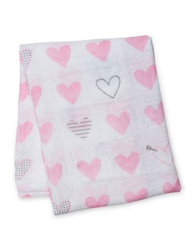 Lulujo Hearts Cotton Muslin Swaddling Blanket-PINK-One Size