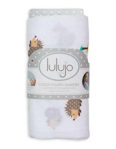 Lulujo Happy Hedgehog Muslin Swaddling Blanket-BROWN-One Size