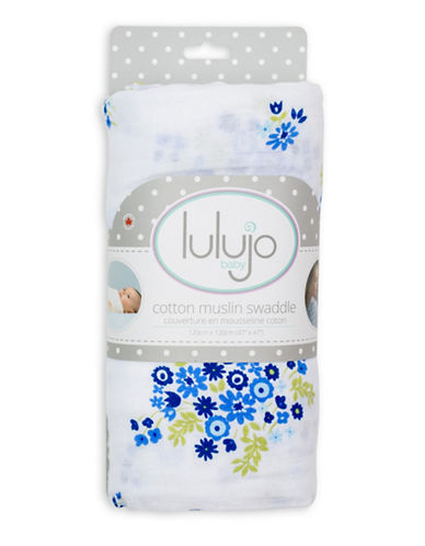 Lulujo Vintage Bluebell Cotton Swaddling Blanket-BLUE-One Size