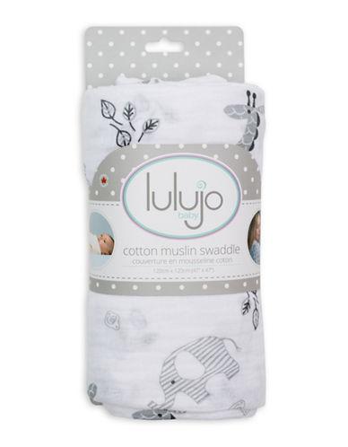 Lulujo Afrique Cotton Swaddling Blanket-GREY-One Size