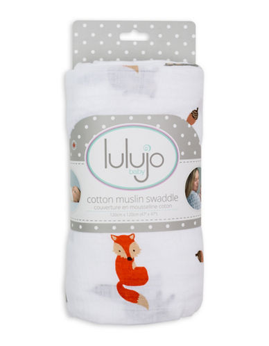 Lulujo Forest Friends Cotton Swaddling Blanket-ORANGE-One Size