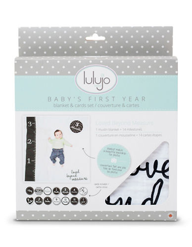 Lulujo Loved Beyond Measure Muslin Blanket and Card Set-GREY-One Size