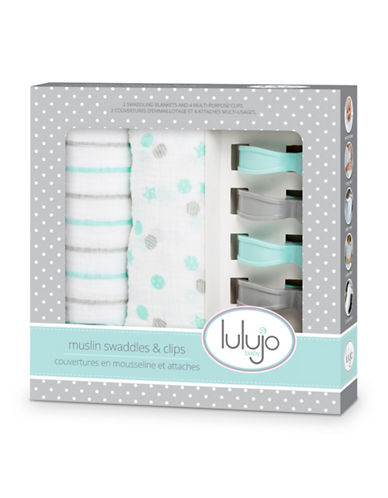 Lulujo Muslin Blanket and Clip Set-AQUA BLUE-One Size
