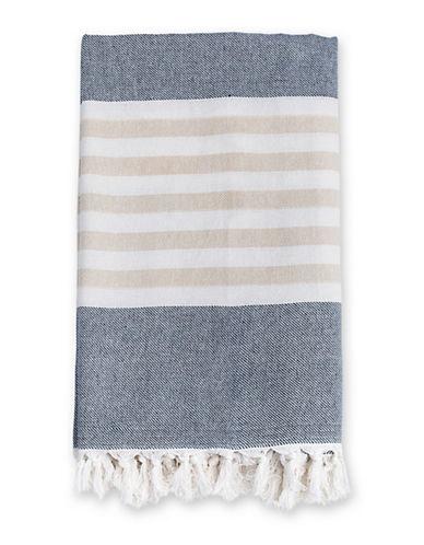 Lulujo Fringed Stripe Towel-BLUE-One Size