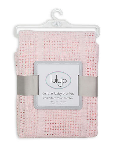 Lulujo Crochet Cellular Blanket-PINK-One Size