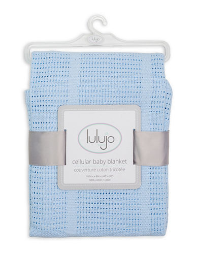 Lulujo Crochet Cellular Blanket-BLUE-One Size