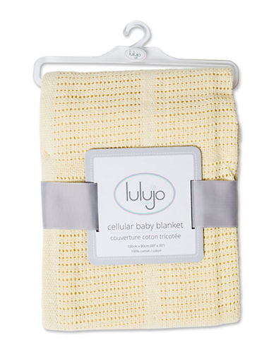 Lulujo Crochet Cellular Blanket-YELLOW-One Size