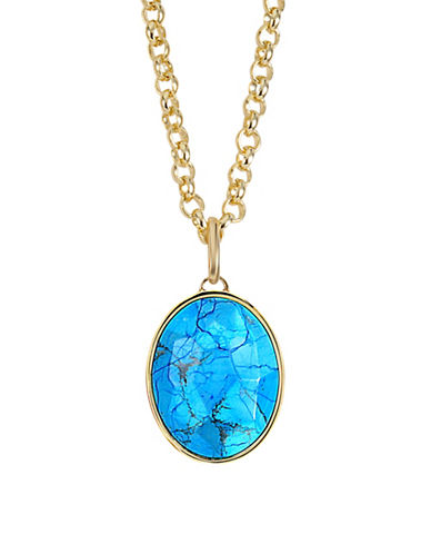 Image of Alex Fraga 24K Gold Inlay Sterling Silver Pendant Necklace-TURQUOISE-One Size